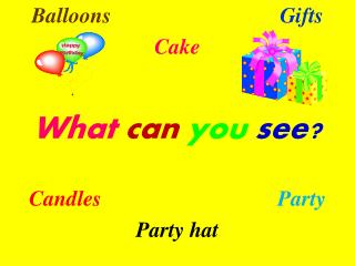 Balloons Gifts Cake What can you see? Candles Party Party hat