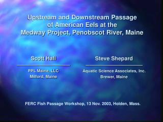 Upstream and Downstream Passage of American Eels at the Medway Project, Penobscot River, Maine
