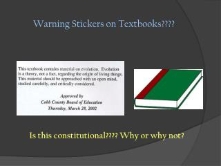 Warning Stickers on Textbooks????