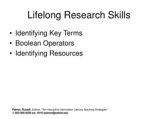 Lifelong Research Skills