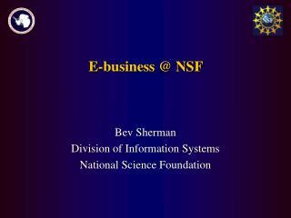 E-business @ NSF
