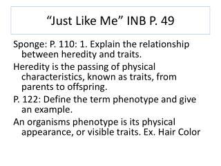 """Just Like Me"" INB P. 49"