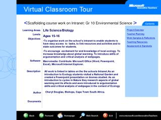 Learning Areas Levels Objectives Software Description