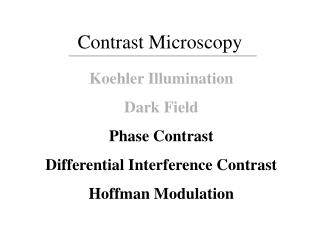 Contrast Microscopy