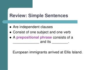 Review: Simple Sentences