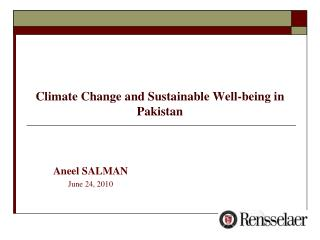 Climate Change and Sustainable Well-being in Pakistan