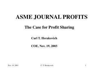 ASME JOURNAL PROFITS
