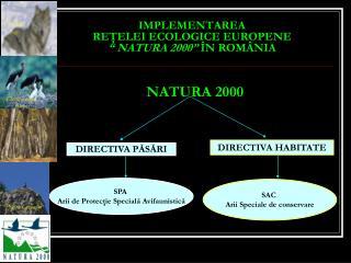 """IMPLEMENTAREA  RE Ţ ELEI ECOLOGICE EUROPENE  """" NATURA 2000""""  ÎN ROMÂNIA"""