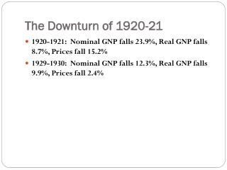 The Downturn of 1920-21