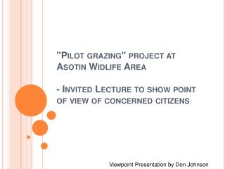 Viewpoint Presentation by Don Johnson