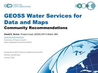 GEOSS Water Services for Data and Maps Community Recommendations