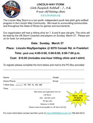 LINCOLN-WAY STORM Girls  Fastpitch  Softball �  7 , 8 & 9  year old hitting clinic lwstorm