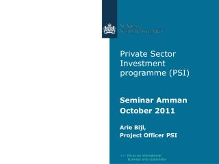 Private Sector Investment programme (PSI)