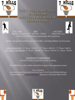 THE 7 HILLS BASKETBALL FEDERATION 2012-2013 FINAL walk-in REGISTRATION