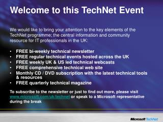 Welcome to this TechNet Event