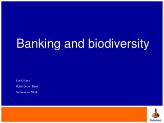 Banking and biodiversity