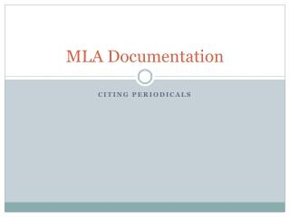 MLA Documentation