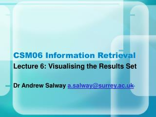 CSM06 Information Retrieval