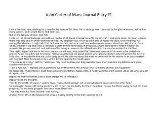 John Carter of Mars: Journal Entry #1