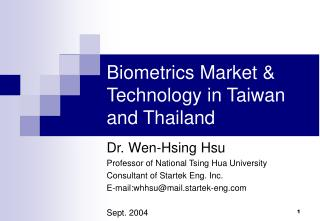 Biometrics Market & Technology in Taiwan and Thailand