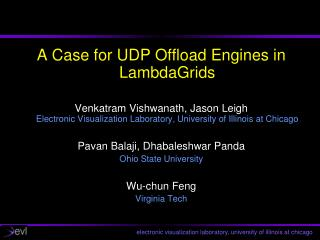 A Case for UDP Offload Engines in LambdaGrids