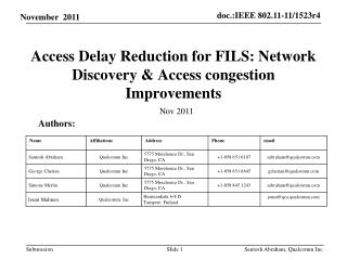 Access  Delay Reduction  for FILS: Network Discovery & Access congestion Improvements