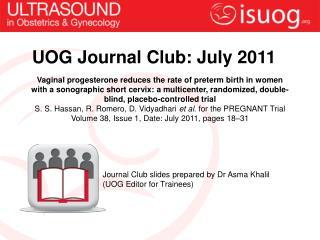 UOG Journal Club: July 2011