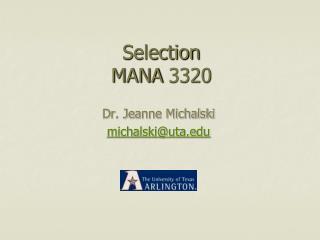 Selection MANA 3320