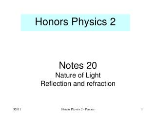 Notes 20 Nature of Light  Reflection and refraction