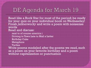 DE Agenda for March 19