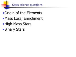 Stars science questions