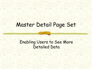 Master Detail Page Set