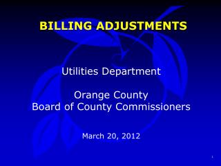 BILLING ADJUSTMENTS
