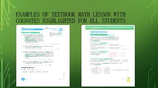 Examples  of Textbook Math  lesson with cognates highlighted for ELL students