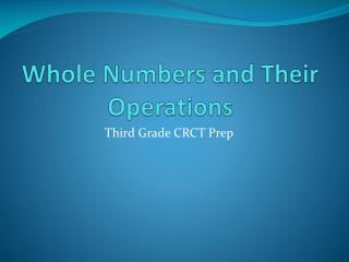 Whole Numbers and Their Operations