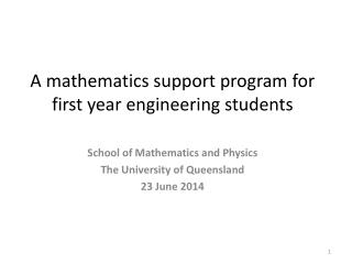 A mathematics support program for first year engineering students