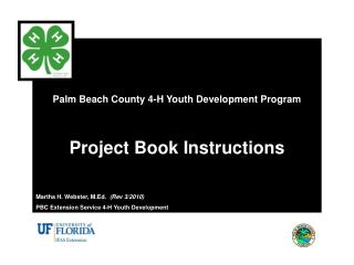 Palm Beach County 4-H Youth Development Program Project Book Instructions