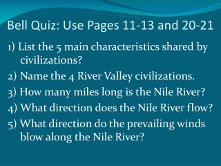 Bell Quiz: Use Pages 11-13 and 20-21