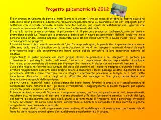 Progetto psicomotricità 2012