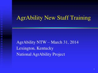 AgrAbility New Staff Training
