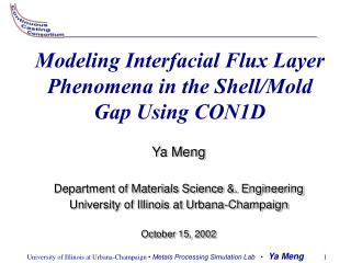 Modeling Interfacial Flux Layer Phenomena in the Shell/Mold Gap Using CON1D