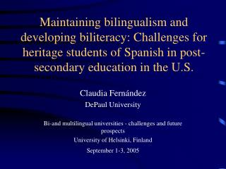 Claudia Fern�ndez DePaul University