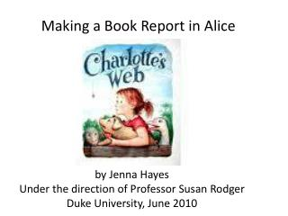Making a Book Report in Alice