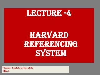 Lecture -4 Harvard referencing system