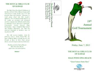 19 th Annual  Golf Tournament