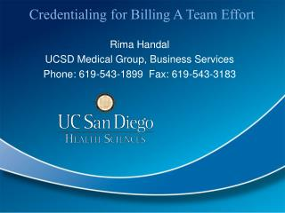 Credentialing for Billing A Team Effort