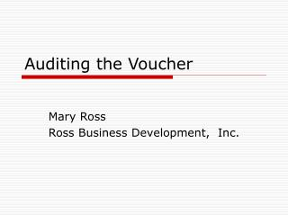 Auditing the Voucher