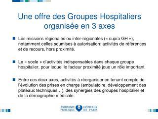 Une offre des Groupes Hospitaliers organis e en 3 axes