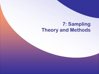 7: Sampling  Theory and Methods