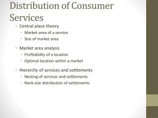 Distribution of Consumer Services